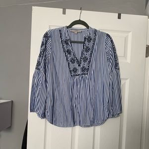 Flare sleeve embroidered striped blouse